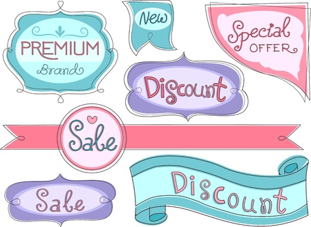 labelling: Illustration of Store Product Labels Stock Photo