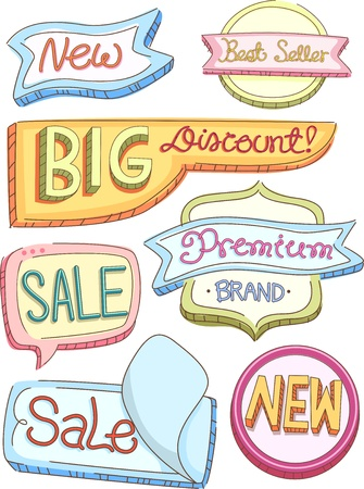 labelling: Illustration of Colorful Store Product Labels