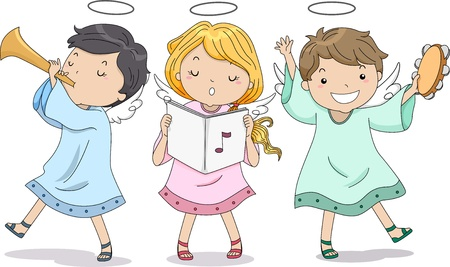 praise and worship: Illustration of Cute Boy and Girl Angels Praising with Music Stock Photo