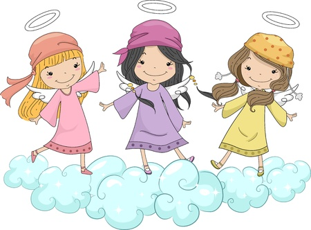 headscarf: Illustration of Three Girl Angels with Head Scarves Standing on Clouds