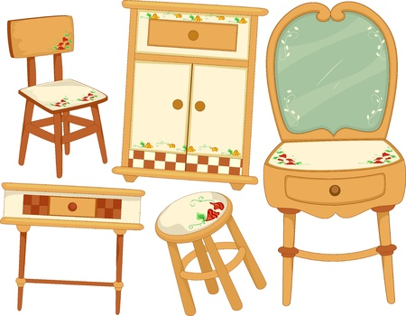 Illustration of Country Furniture Design Elements illustration