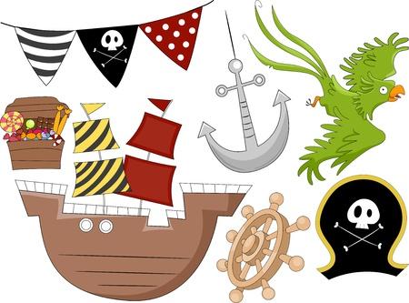 plunder: Illustration of Pirate Birthday Design Elements 2 Stock Photo