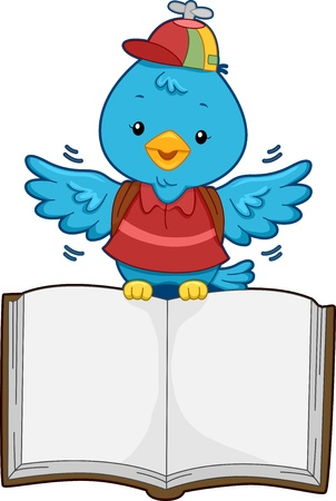 early learning: Illustration of a Flying Blue Bird Carrying an Open Blank Book on its Feet