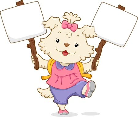 cute cartoon dog: Illustration of a Cute Dog Student carrying Two Placards