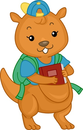 Illustration of Kangaroo Student with Book on its Pouch illustration
