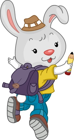 school kit: Illustration of a Jumping Rabbit Student wearing a Backpack Stock Photo