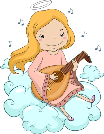 lute: Illustration of a Girl Angel Sitting on Clouds Playing Lute Stock Photo