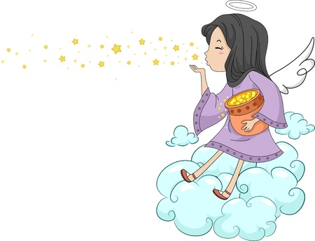 guardian: Illustration of a Girl Angel Blowing Stars  Stock Photo