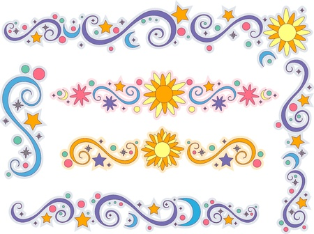 Illustration of Sun, Moon, and Stars Border Stock Photo