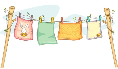 clothesline: Illustration of Baby Blankets Hanging on a Clothesline Stock Photo