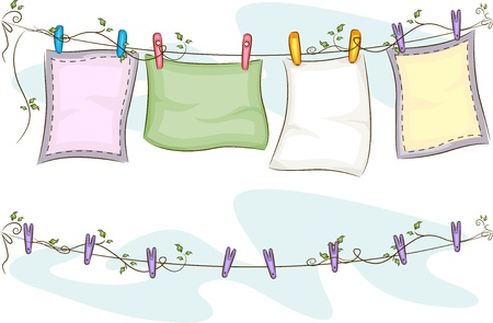 Illustration of Blankets Hanging on a Clothesline on Top of an Empty Clothesline Stock Illustration - 20780221