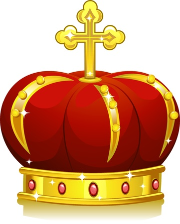 highness: Illustration of a Shining Red and Gold Crown