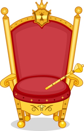 highness: Illustration of Shiny Red and Gold Royal Chair with Scepter Stock Photo