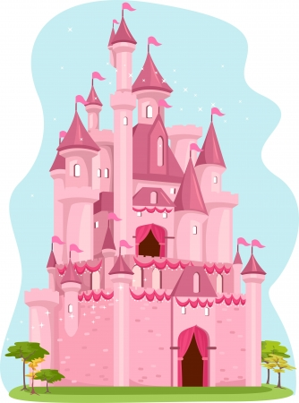 fairy princess: Illustration of a Cute Pink Castle