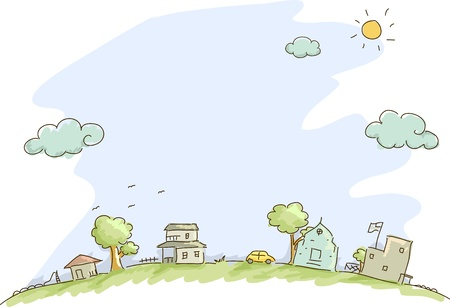rural community: Illustration of Community Sketch Background