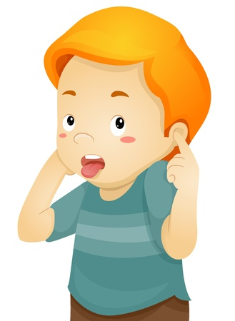 Illustration of a Little Kid Boy with Tongue Sticking out Covering his Ears with his Fingers