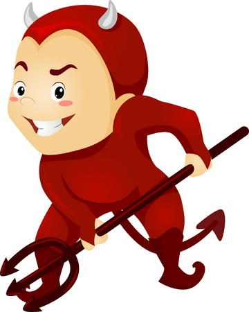 annoying: Illustration of a Little Kid Boy as a Red Devil with Horns and Pitchfork Stock Photo