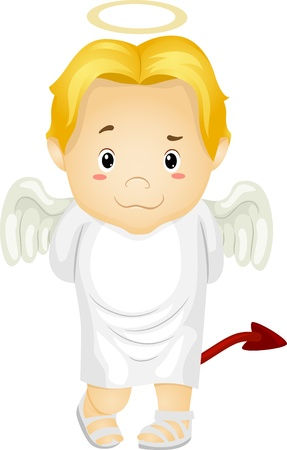 Illustration of a Little Kid Boy Angel with Halo and Devils Tail Stock Photo