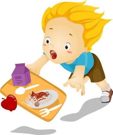 canteen: Illustration of a Little Kid Boy Tumbles Down and Drops his Food