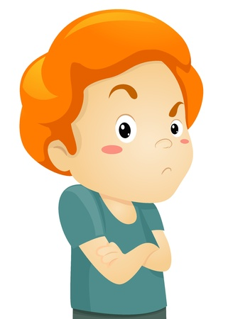 cranky: Illustration of a Frowning Grumpy Little Kid Boy