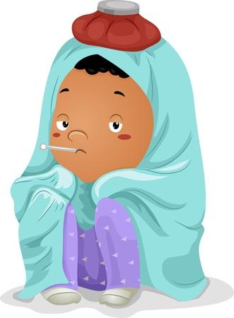 niños enfermos: Ilustración de un Sick Little Boy niño envuelto en una manta con el termómetro en la boca y la bolsa de hielo en la cabeza