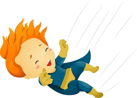 superpowers: Illustration of a Falling Little Kid Boy Superhero