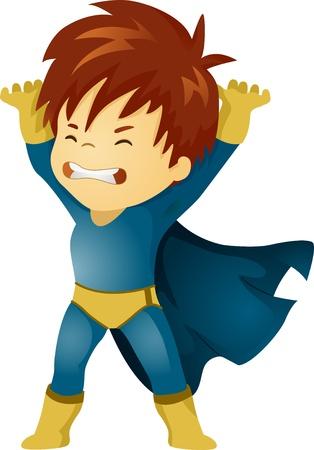 superpowers: Illustration of a Little Kid Boy Superhero Lifting Something