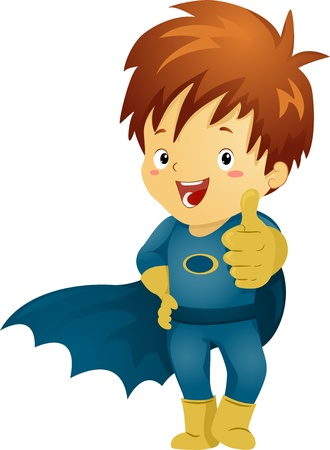 superpowers: Illustration of a Little Kid Boy Superhero making an OK Sign