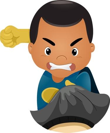 superpowers: Illustration of Little Kid Boy Superhero Punching Someone