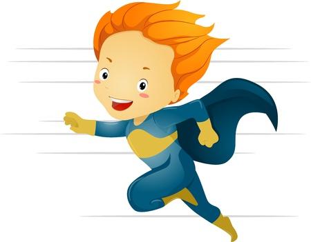 superpowers: Illustration of a Little Kid Boy Superhero Running in Fast Speed