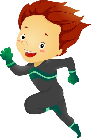 superpowers: Illustration of Little Kid Boy Running Stock Photo
