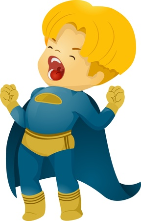 outcry: Illustration of Shouting Little Kid Boy Superhero Stock Photo
