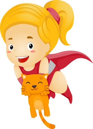 superpowers: Illustration of a Little Kid Girl Superhero Rescue an Orange Cat