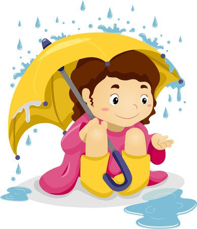 puddle: Illustration of Little Kid Girl Sitting Under the Rain with Umbrella playing with Raindrops