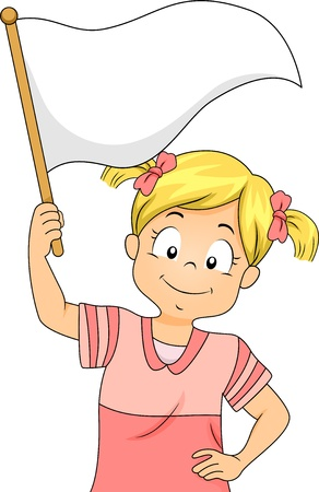 peace flag: Illustration of a Little Kid Girl Waving a Blank White Flag Stock Photo