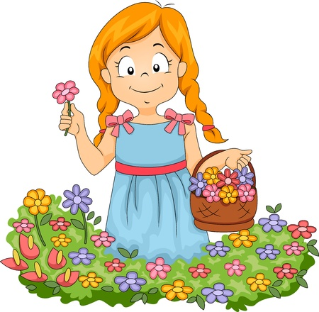 niñas: Ilustración de Little Kid niña con cesta llena de flores recogiendo flores en un jardín