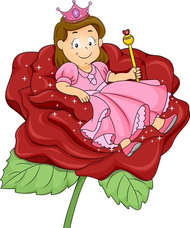 scepter: Illustration of a Little Kid Girl Princess with sitting on a Rose Throne Stock Photo