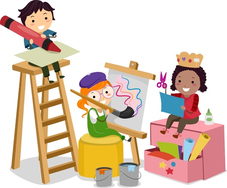 kids painting: Illustration of Stickman Kids making Arts and Crafts