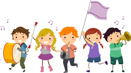 marching band: Illustration of Stickman Kids Marching Band