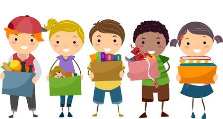 Ilustración de Stickman niños que llevan las cajas de donación lleno de juguetes Foto de archivo