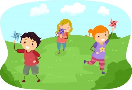 playmates: Ilustración de Stickman Niños jugando con molinetes en un campo