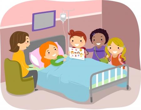 hospital caricatura: Ilustraci�n de Stickman Kids hacer una visita a un amigo en el hospital Foto de archivo