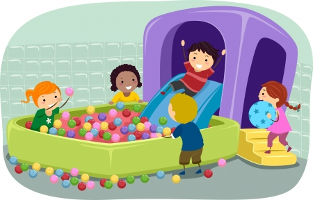 pit: Illustration of Stickman Kids Playing in an Inflatable Ball Pit Stock Photo