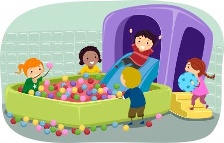 pelota caricatura: Ilustración de Stickman niños jugando en un Hoyo de la bola inflable Foto de archivo