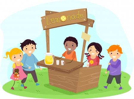 Illustratie van Stickman Kids on a Lemonade Stand Stockfoto