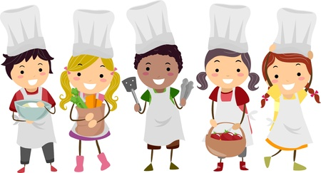 Illustration von Kids Stickman als Little Chefs Standard-Bild - 20780111