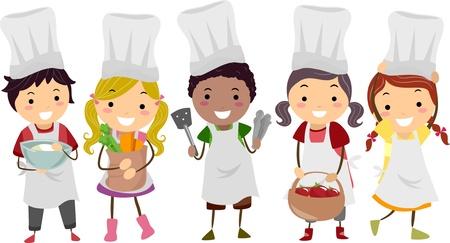 chef caricatura: Ilustración de niños Stickman como Pequeños cocineros