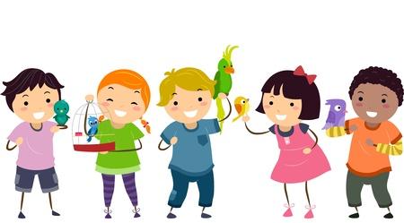 bonhomme allumette: Illustration de Stickman enfants avec leurs oiseaux de compagnie