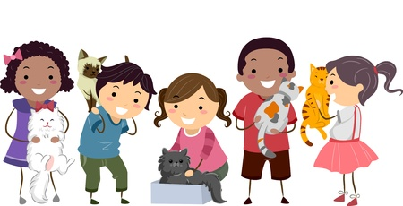 Illustration of Stick Kids with their Pet Cats illustration