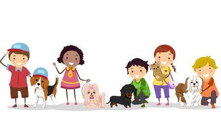 bonhomme allumette: Illustration de Stickman enfants avec leurs chiens de compagnie Banque d'images